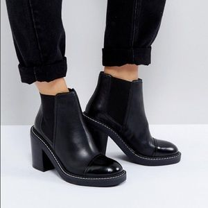 ASOS ENTAIL Premium Leather Heeled Chelsea Booties